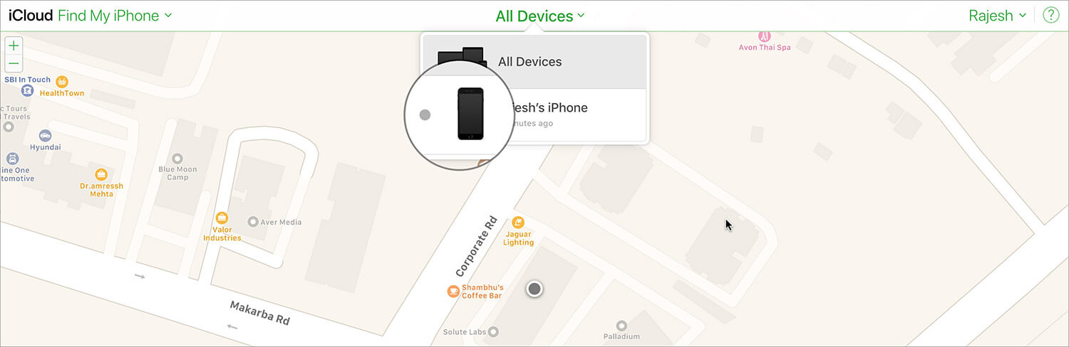 Select your Lost or Stolen iPhone in iCloud
