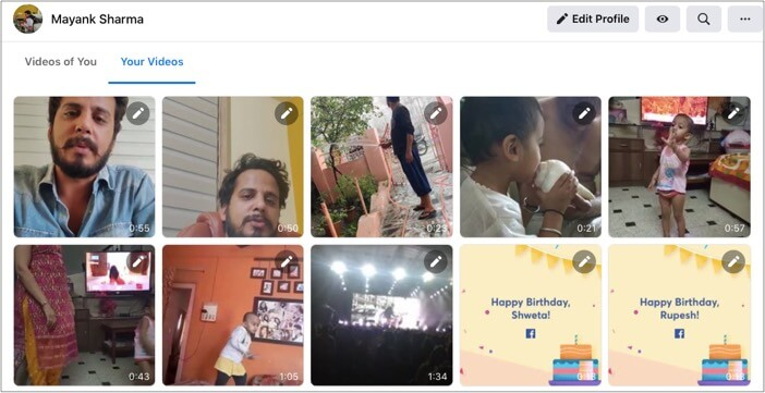 Select your Videos and this will give you videos shared by you on Facebook