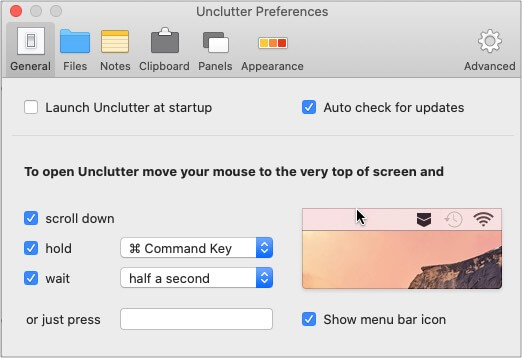 Selected action should pull up the Unclutter panel