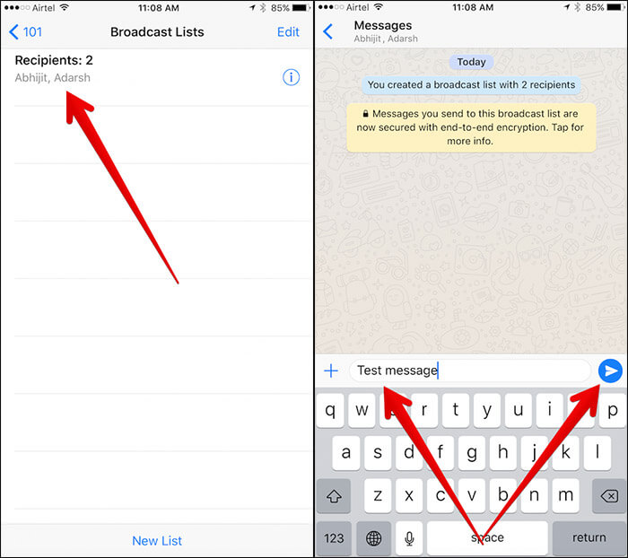 Send Broadcast Message in WhatsApp on iPhone