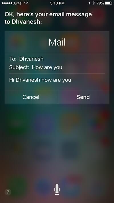 Send Mail on iPhone Using Siri