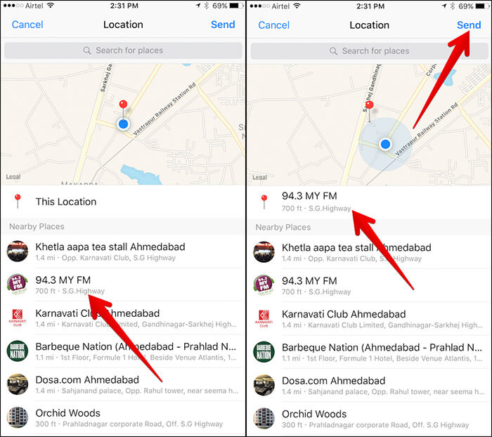 Send Nearby Location in Messenger App on iPhone