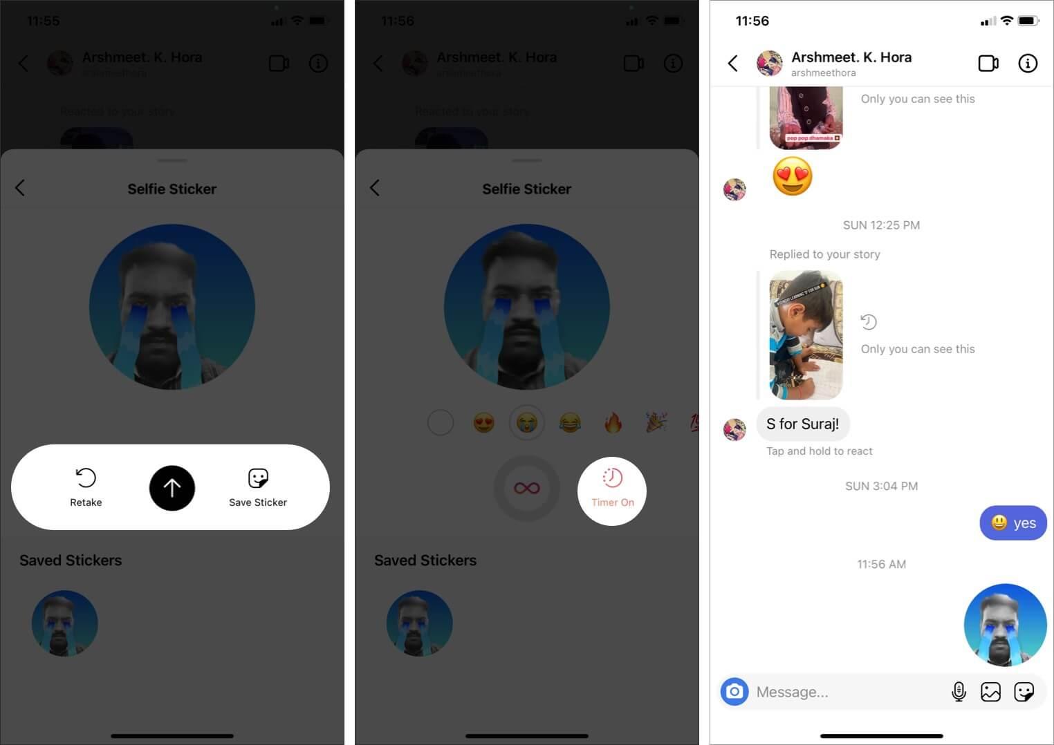 Send Selfie Stickers in Instagram DM on iPhone