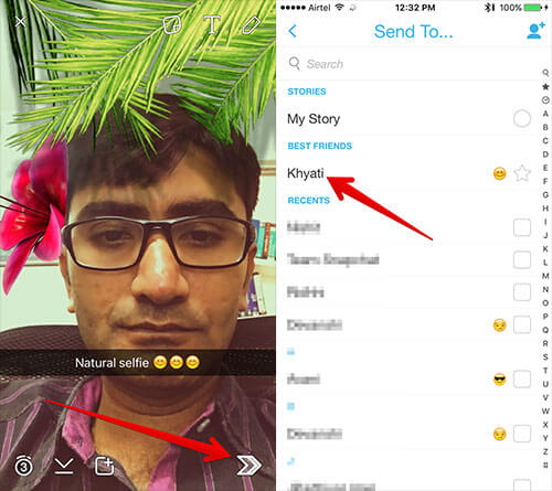 Send Snapchat Photo to Contact on iPhone