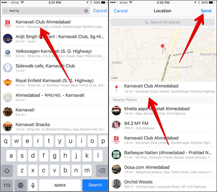 Send Specific Location in Messanger App on iPhone