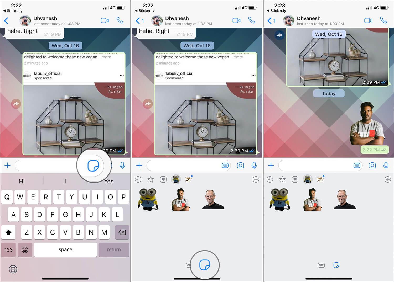 Send custom stickers on WhatsApp from iPhone
