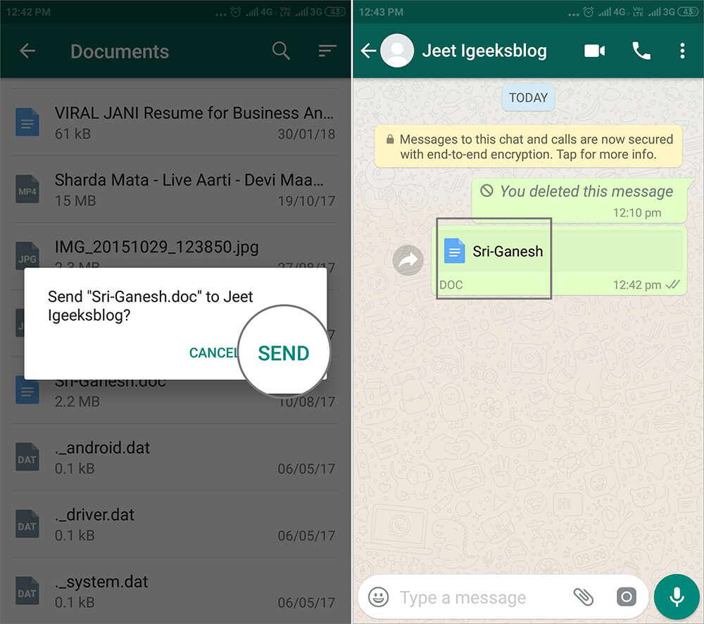 Send selected images in Whatsapp