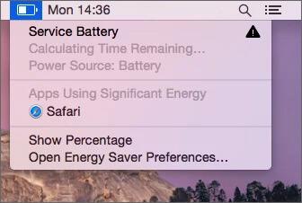 Service Battery Alert on Macbook