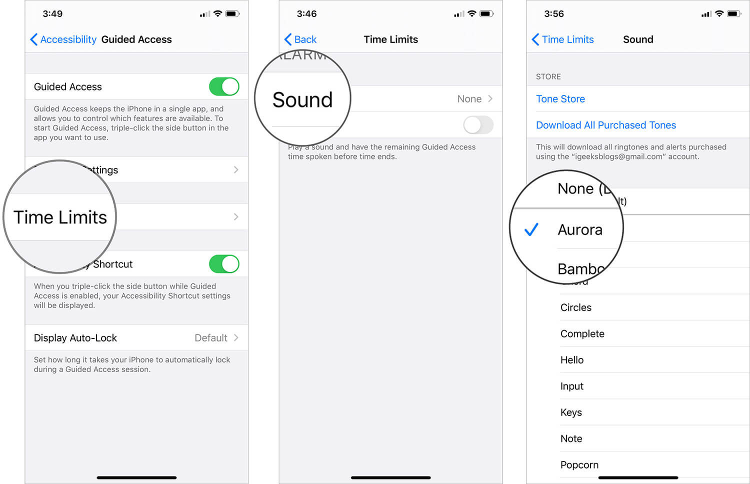 Set Alarm Tone in Time Limits on iPhone Guided Access