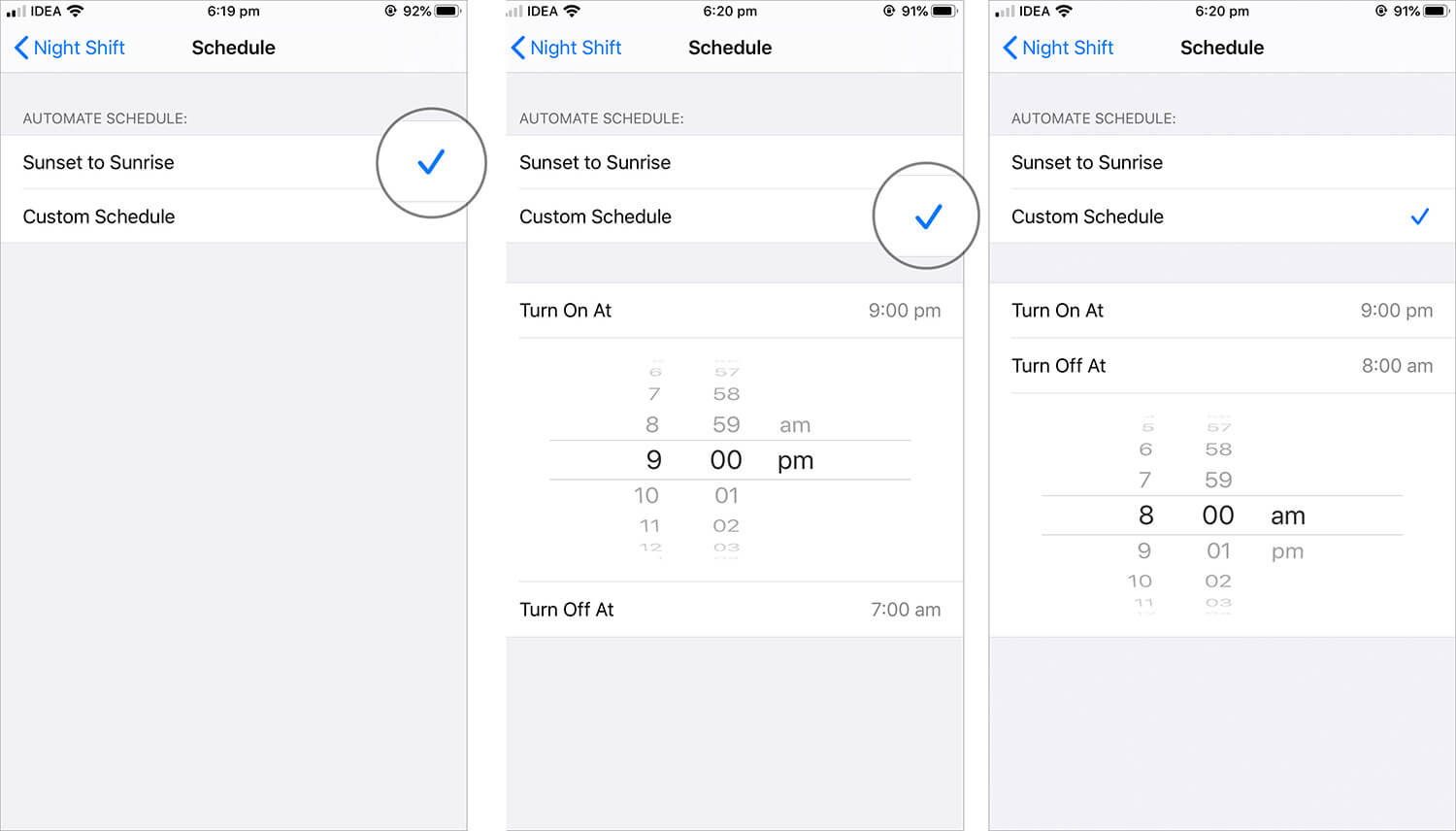Set Customized Time for Night Shift Mode on iPhone