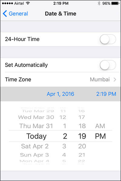 Set Date and Time Manually on iPhone