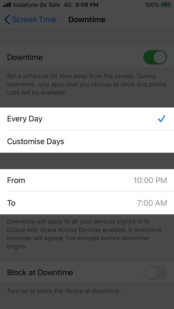 Set Downtime in Screen Time on iPhone