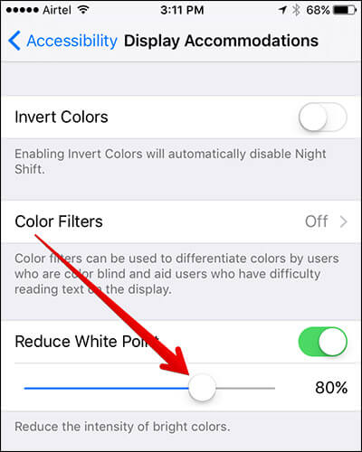 Set Intensity of Colors in iPhone Settings