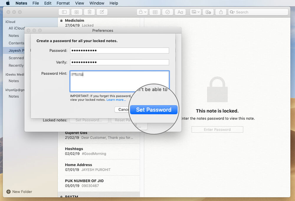 Set New Password and Password Hint for Forgotten Notes on Mac