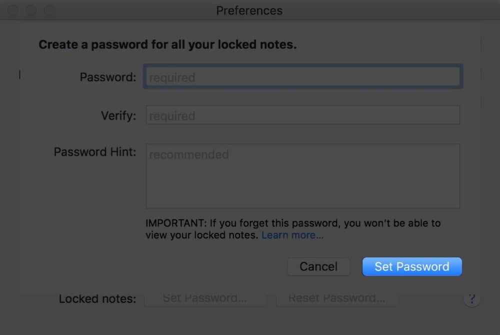 Set Notes Password on Mac