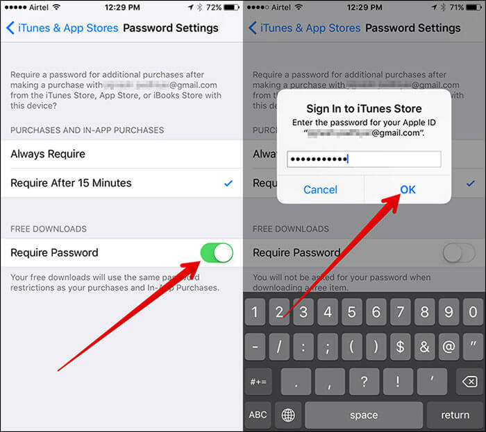 Set Password for iTunes in iOS 10 on iPhone