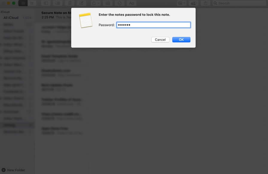 Set Password to Lock Note on Mac