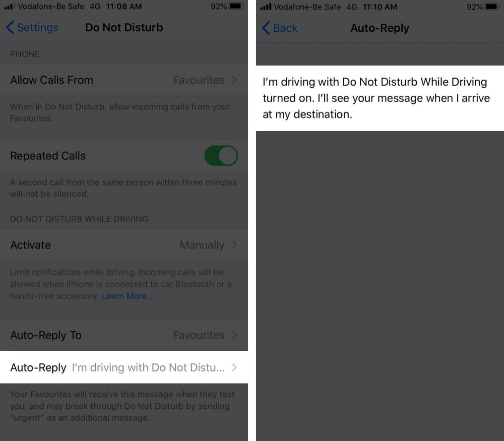 Set Up Auto Reply to Text Messages on iPhone While Driving