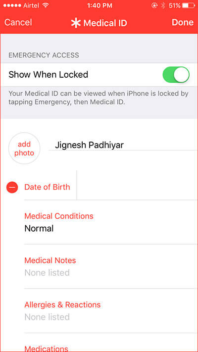 Set Up Medical ID on iPhone