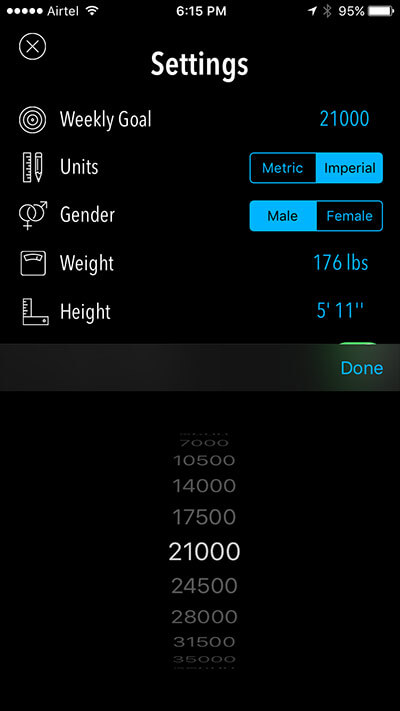 Set Weekly Goal in Activity Tracker iPhone and iPad App