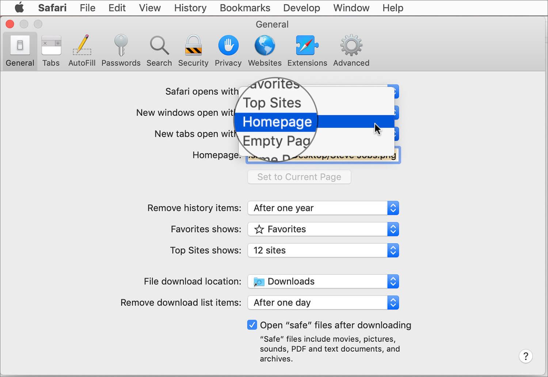 Set new tap open as Safari Homepage on Mac