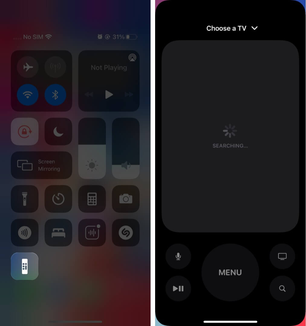 Set up Apple TV Remote in Control Center on iOS