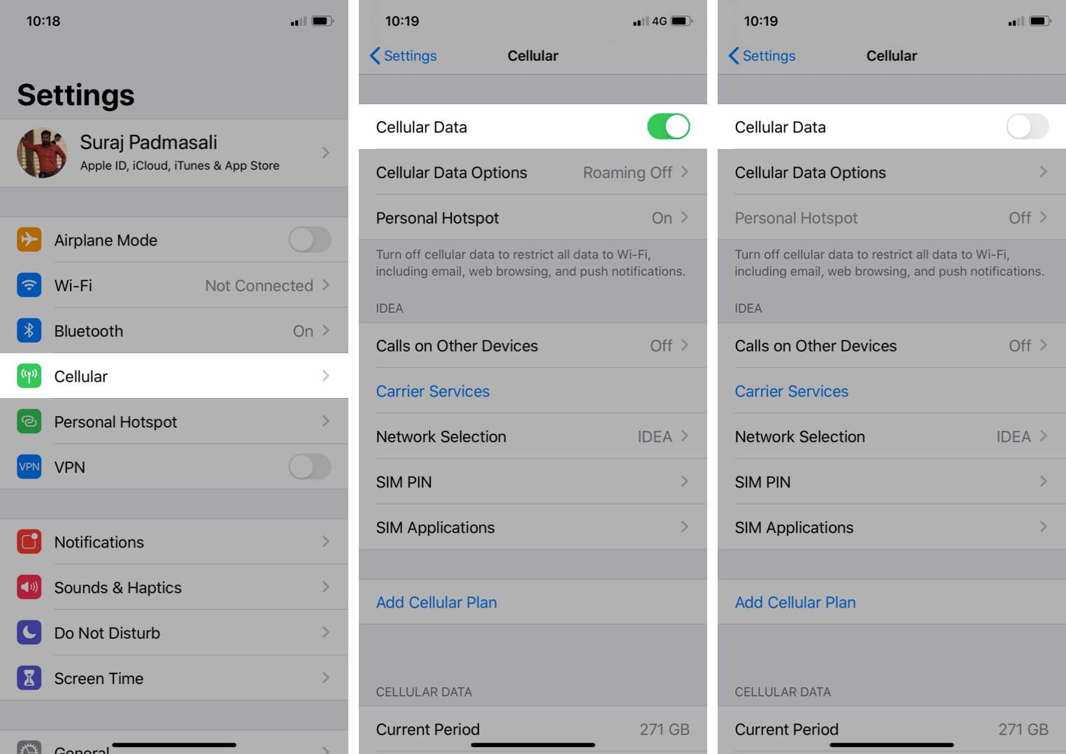Setting App tap on Cellular for Turn Cellular Data on or off on iPhone