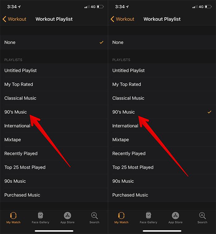 Setup Workout Playlist on Apple Watch