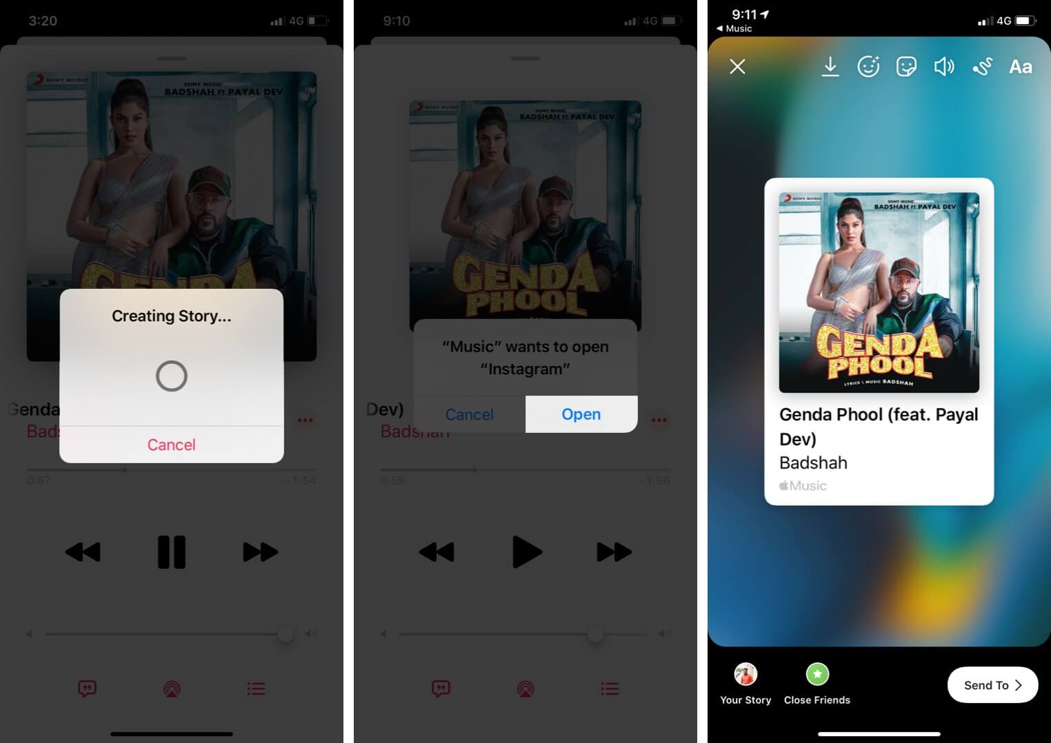 Share Apple Music Songs to Instagram Stories on iPhone
