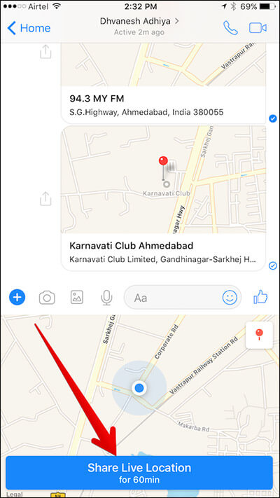 Share Live Location in Messenger App on iPhone