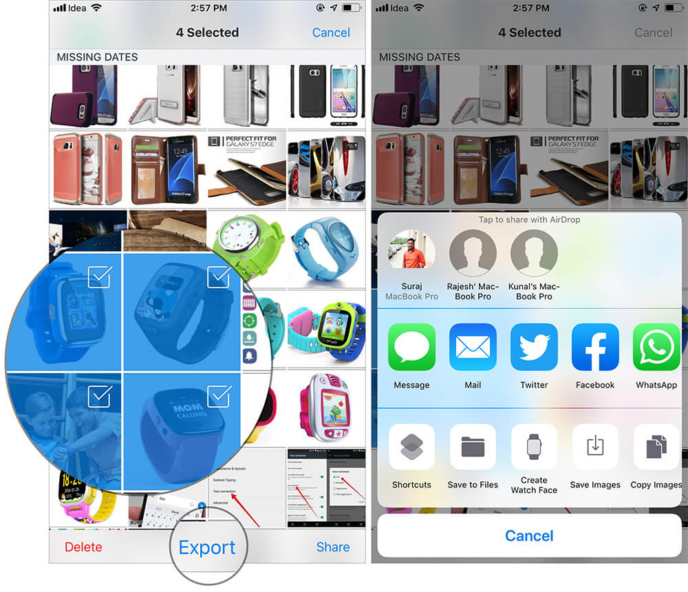 Share Multiple Photos in Dropbox App for iPhone or iPad