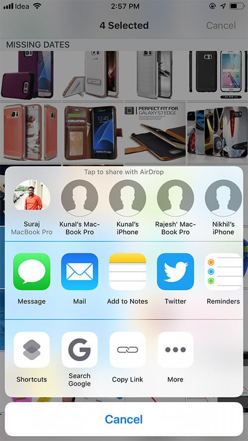 Share Multiple Photos in iOS Dropbox app