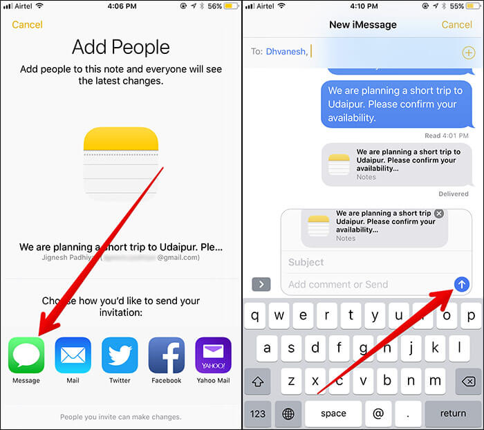 Share Notes in iOS 11 on iPhone