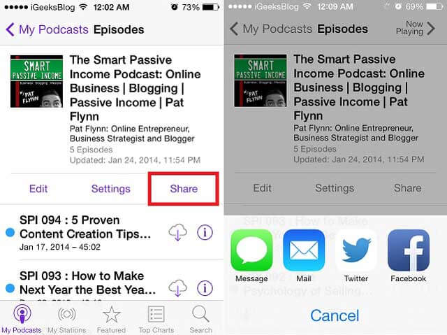 Share Podcasts on iPhone or iPad