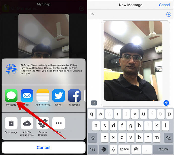 Share Snapchat Photos on Facebook, Twitter and Messages on iPhone