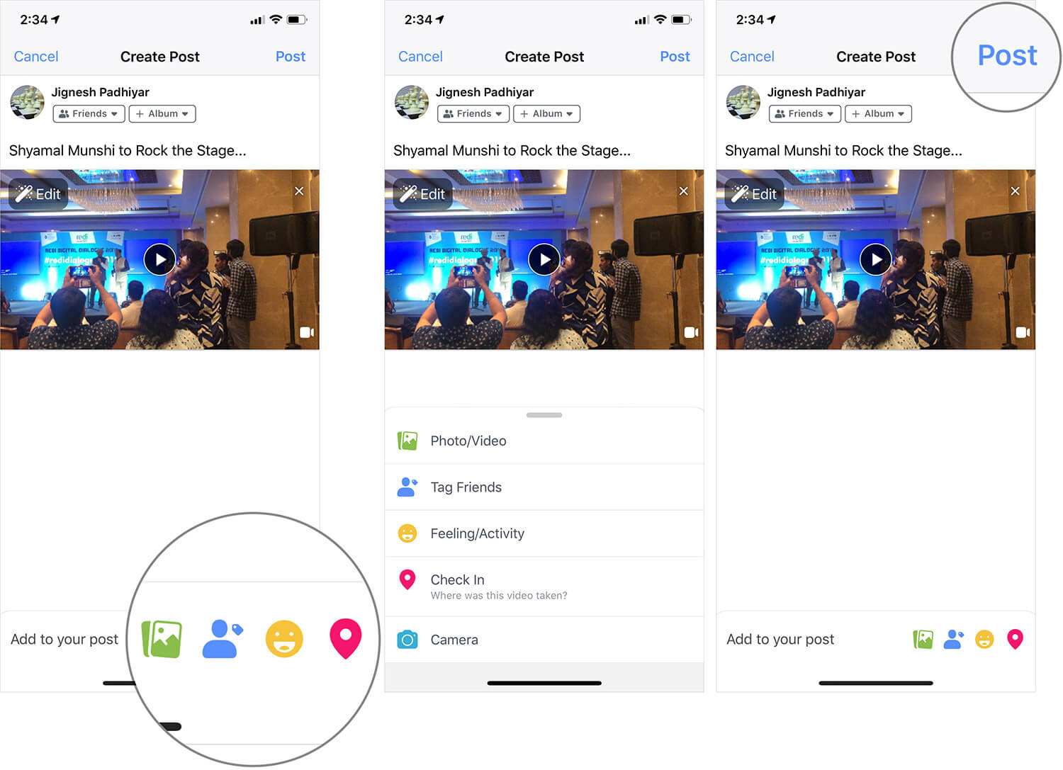 Share Video on Facebook from iPhone or iPad Camera Roll