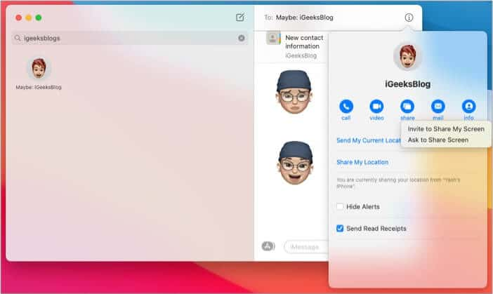 Share screen on your Mac using Messages