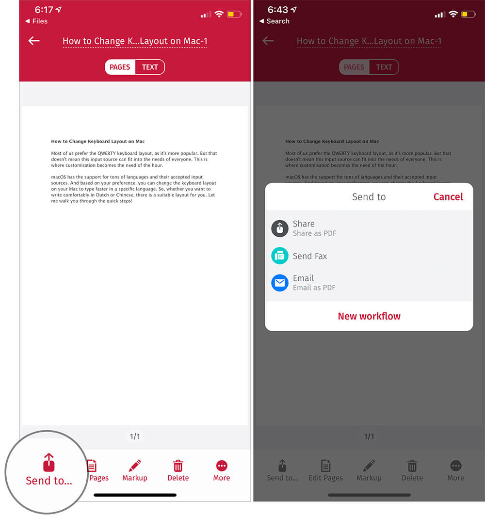 Share the PDF File to Other on iPhone