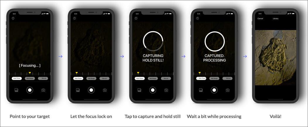 Shoot photos on NeuralCam iPhone App