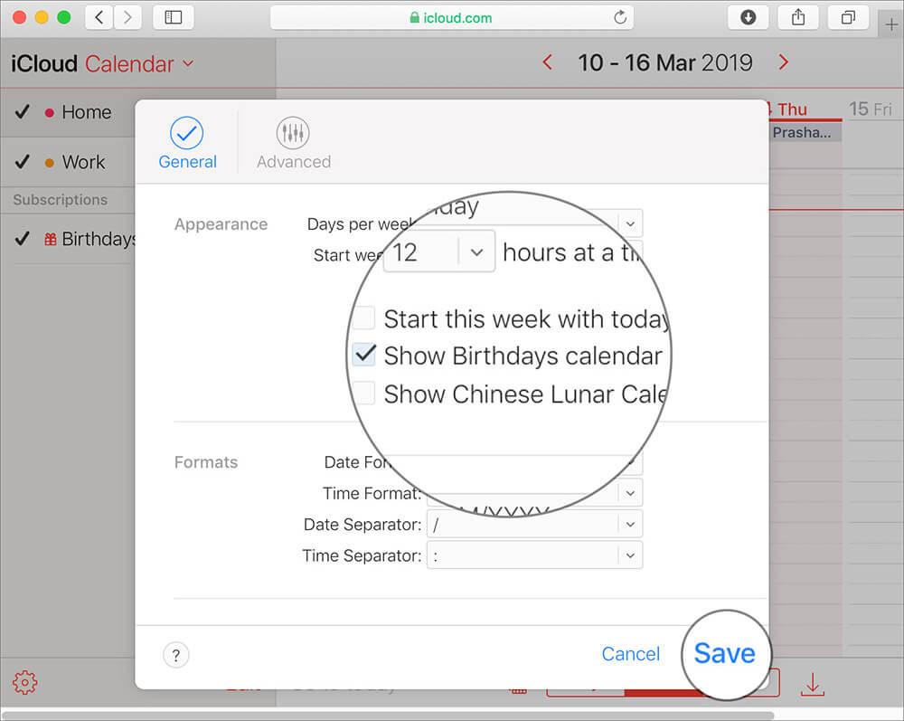 Show Birthdays in Apple Calendar on iCloud Web