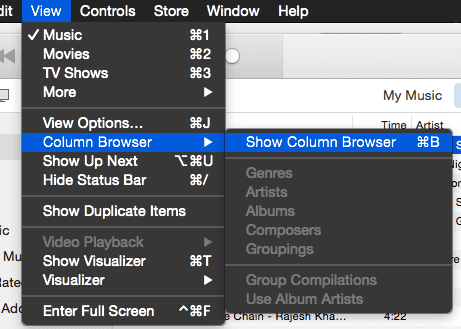 Show Column Browser in iTunes 12