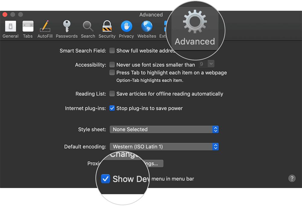 Show Develop Menu in Safari Menu Bar on Mac