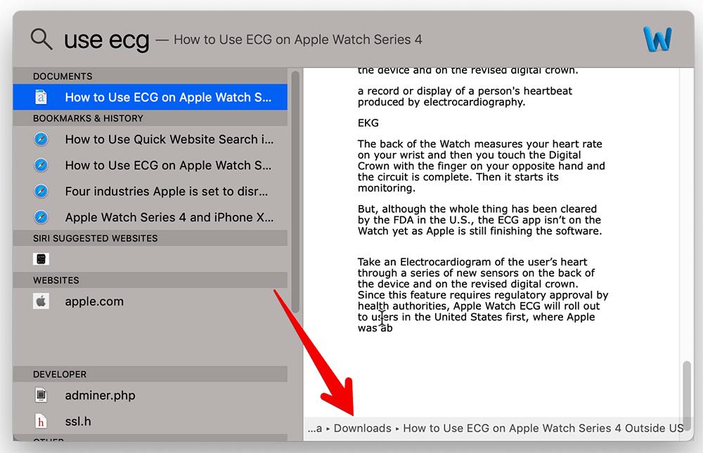 Show File Path in Spotlight on Mac