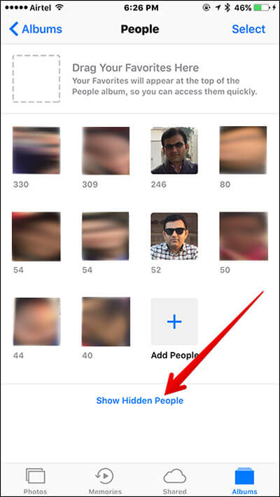 Show Hidden People in iOS 10