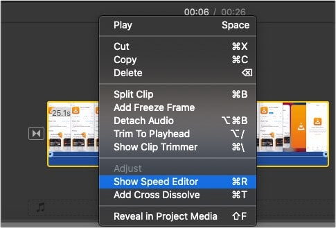 Show Speed Editor option in iMovie on Mac