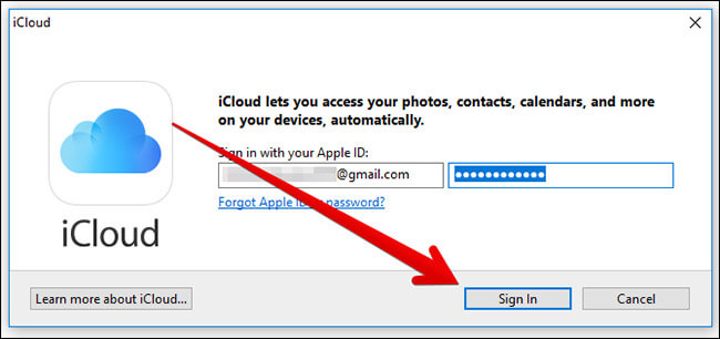 Sign In to iCloud for Windows