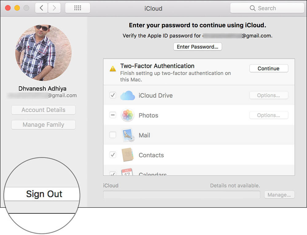 Sign Out Of iCloud Account on Mac running macOS Mojave