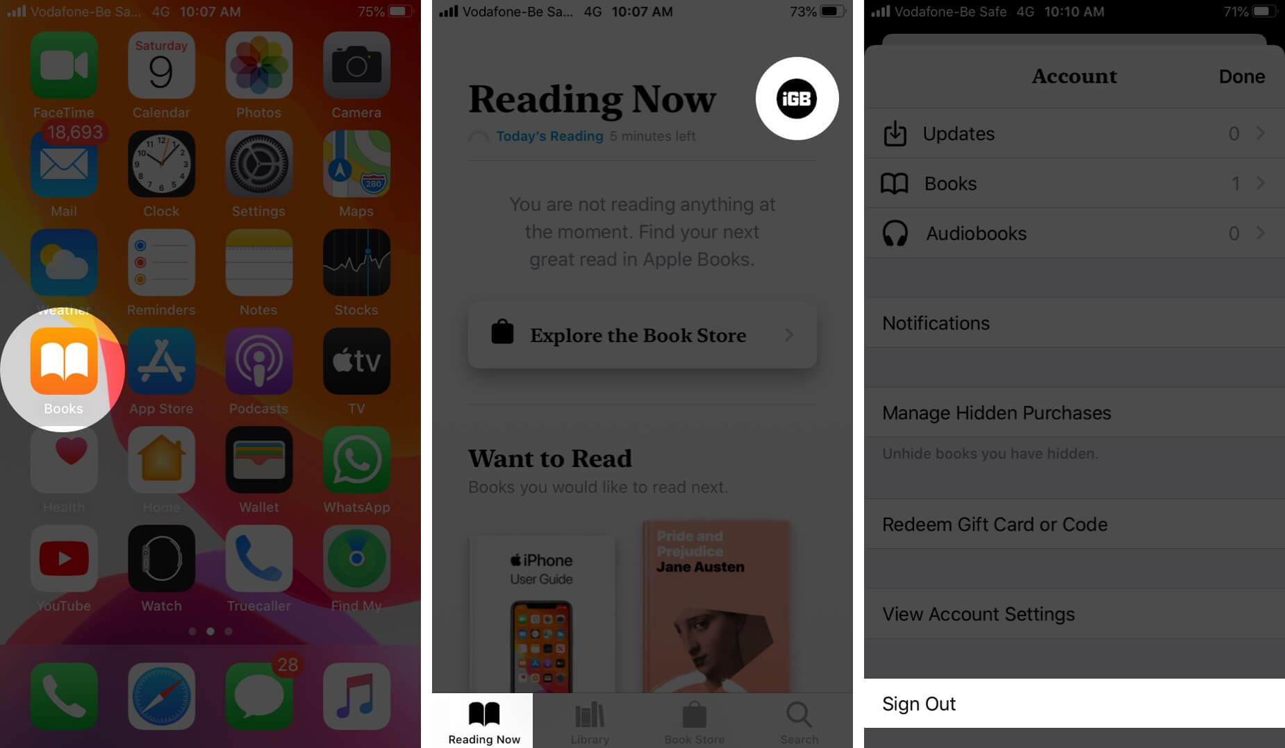Sign Out from Books App on iPhone