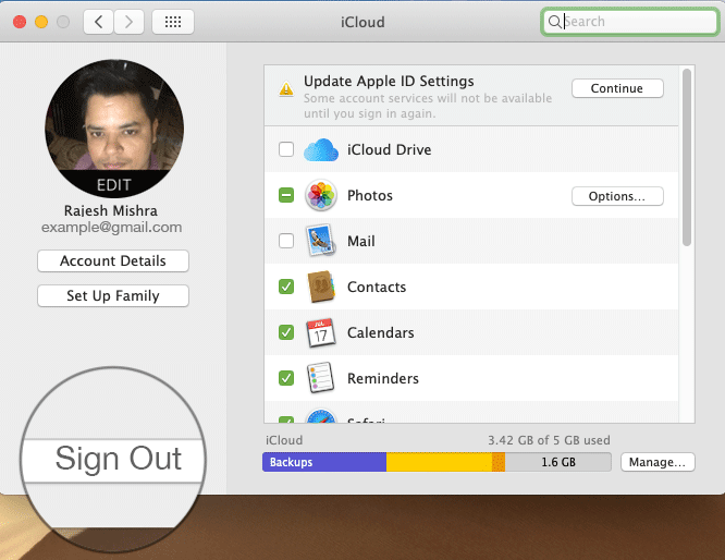 Sign Out from iCloud to Switch Apple ID on Mac