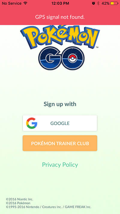 Sign Up to Pokemon with Google Account